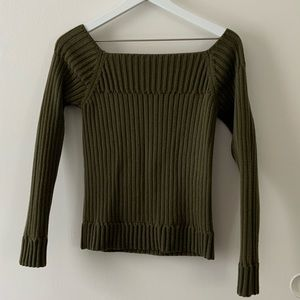 Sisley Square Off Shoulder Cropped Sweater